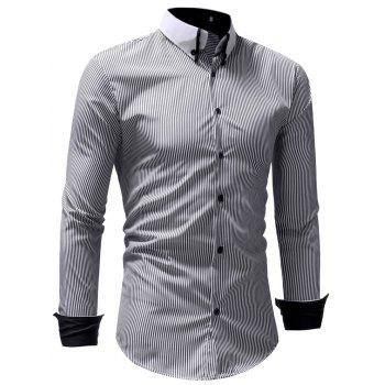 Autumn Winter Men's Casual Slim Long-Sleeved Shirt - GRAY 2XL