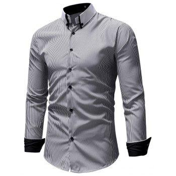 Autumn Winter Men's Casual Slim Long-Sleeved Shirt - GRAY L