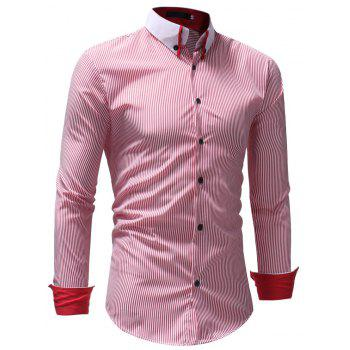 Autumn Winter Men's Casual Slim Long-Sleeved Shirt - RED 2XL