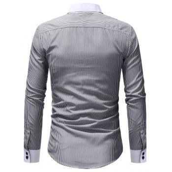 Autumn Winter Men's Casual Slim Long-Sleeved Shirt - GRAY XL