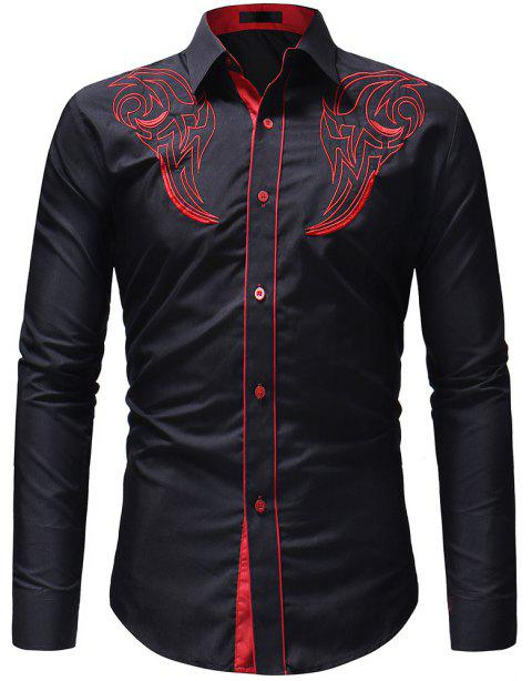 Classic Print Men's Casual Slim Long-Sleeved Shirt - BLACK XL