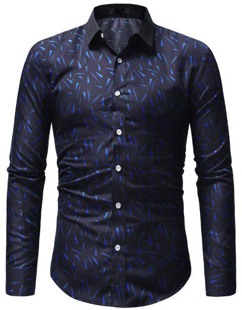 Small Floral Men's Slim Casual Long-Sleeved Shirt - CADETBLUE M