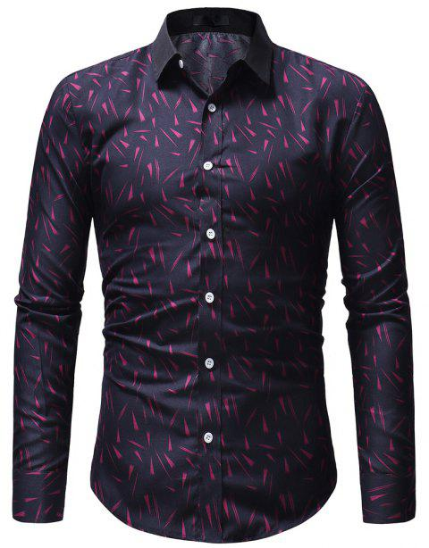 Small Floral Men's Slim Casual Long-Sleeved Shirt - PLUM PURPLE XL
