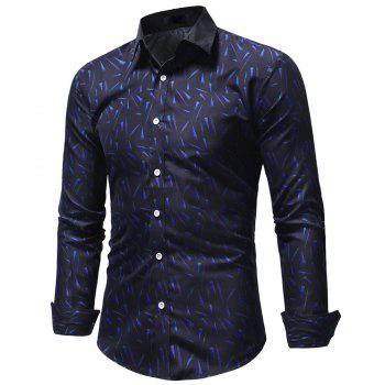 Small Floral Men's Slim Casual Long-Sleeved Shirt - CADETBLUE L