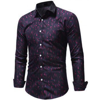 Small Floral Men's Slim Casual Long-Sleeved Shirt - PLUM PURPLE 3XL