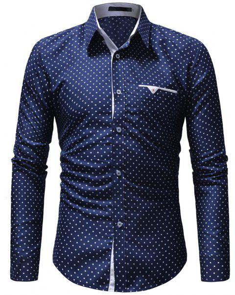 Autumn Casual Floral Fashion Men Long-Sleeved Shirt - BLUE EYES M
