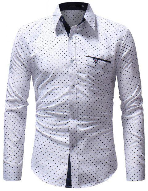 Autumn Casual Floral Fashion Men Long-Sleeved Shirt - WHITE M