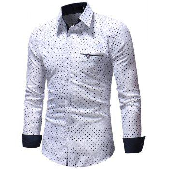 Autumn Casual Floral Fashion Men Long-Sleeved Shirt - WHITE 2XL
