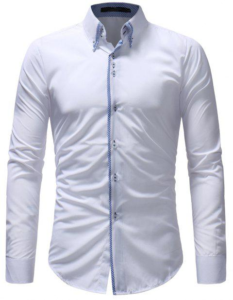 Solid Color Men's Casual Long-Sleeved Shirt - WHITE 2XL