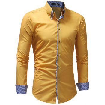 Solid Color Men's Casual Long-Sleeved Shirt - YELLOW L