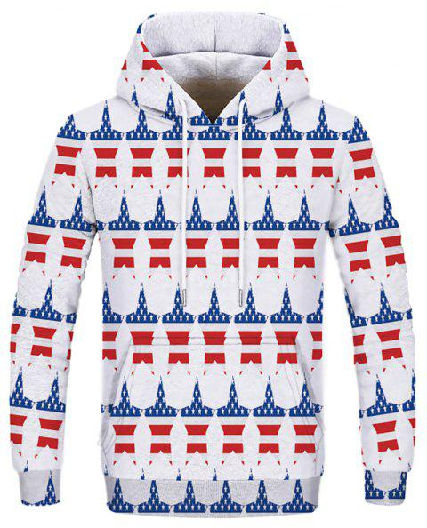 Fashion Men's Printed Multicolor Five-Pointed Star Hoodie - multicolor XL