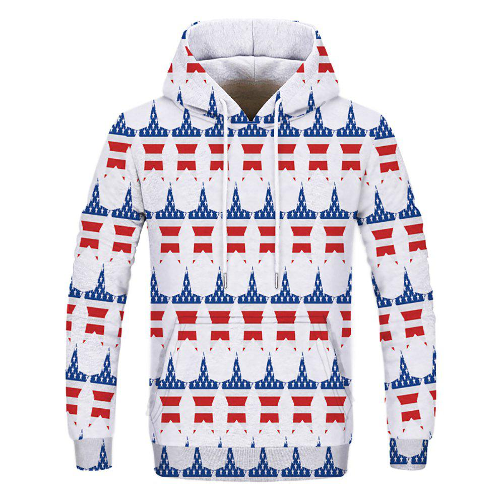 Fashion Men's Printed Multicolor Five-Pointed Star Hoodie - multicolor S