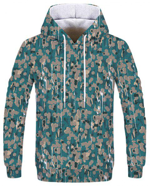 Fashion Men's Camouflage Printed Dot Figure Hoodie - multicolor L