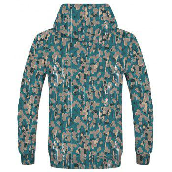 Fashion Men's Camouflage Printed Dot Figure Hoodie - multicolor 2XL