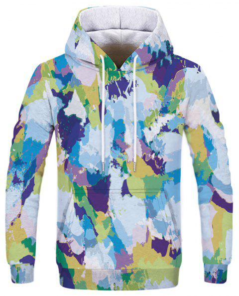 Fashion Men's 3D Printed Camouflage Hoodie - multicolor 3XL