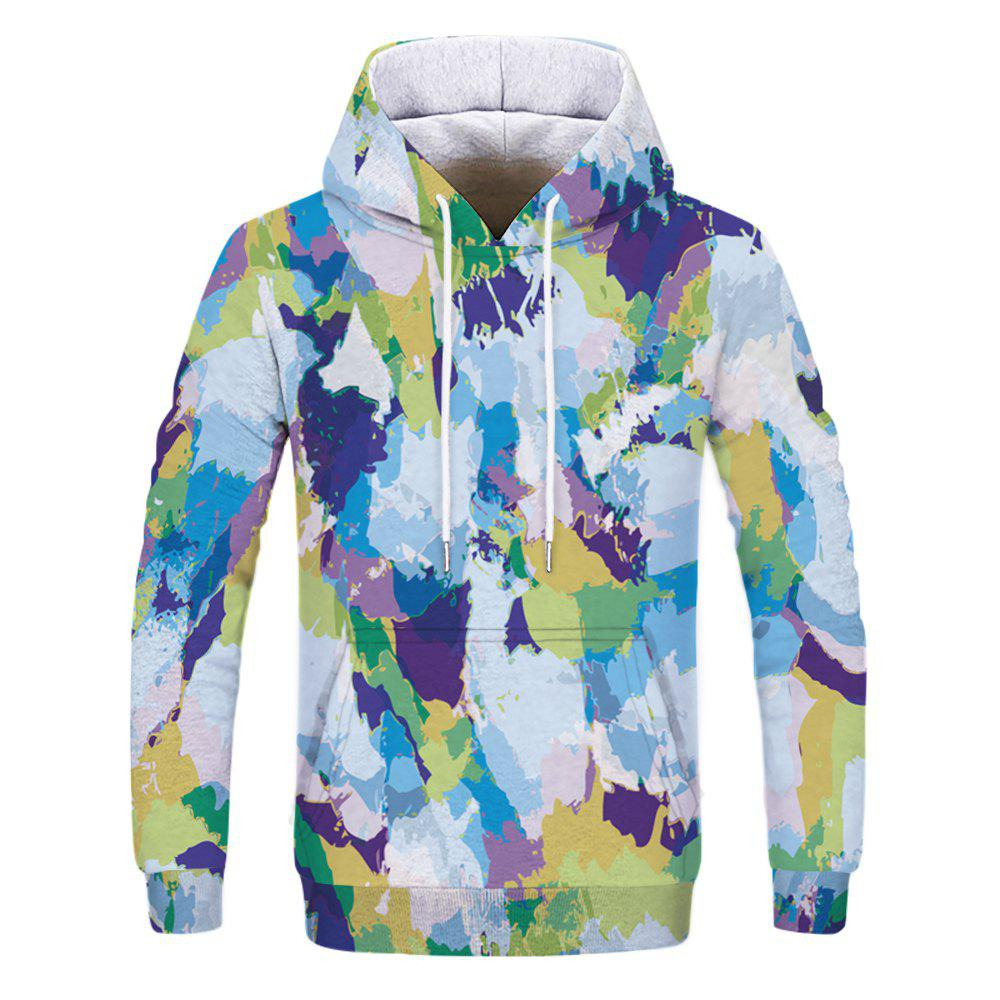 Fashion Men's 3D Printed Camouflage Hoodie - multicolor XS
