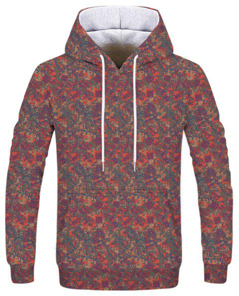 Stylish Men's Forest Camouflage Hoodie - multicolor L