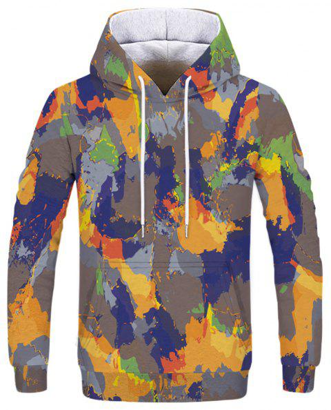 Fashion Men's Camouflage Yellow Blue Hoodie - multicolor 3XL