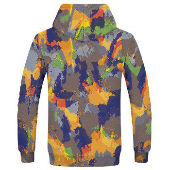 Fashion Men's Camouflage Yellow Blue Hoodie - multicolor 2XL