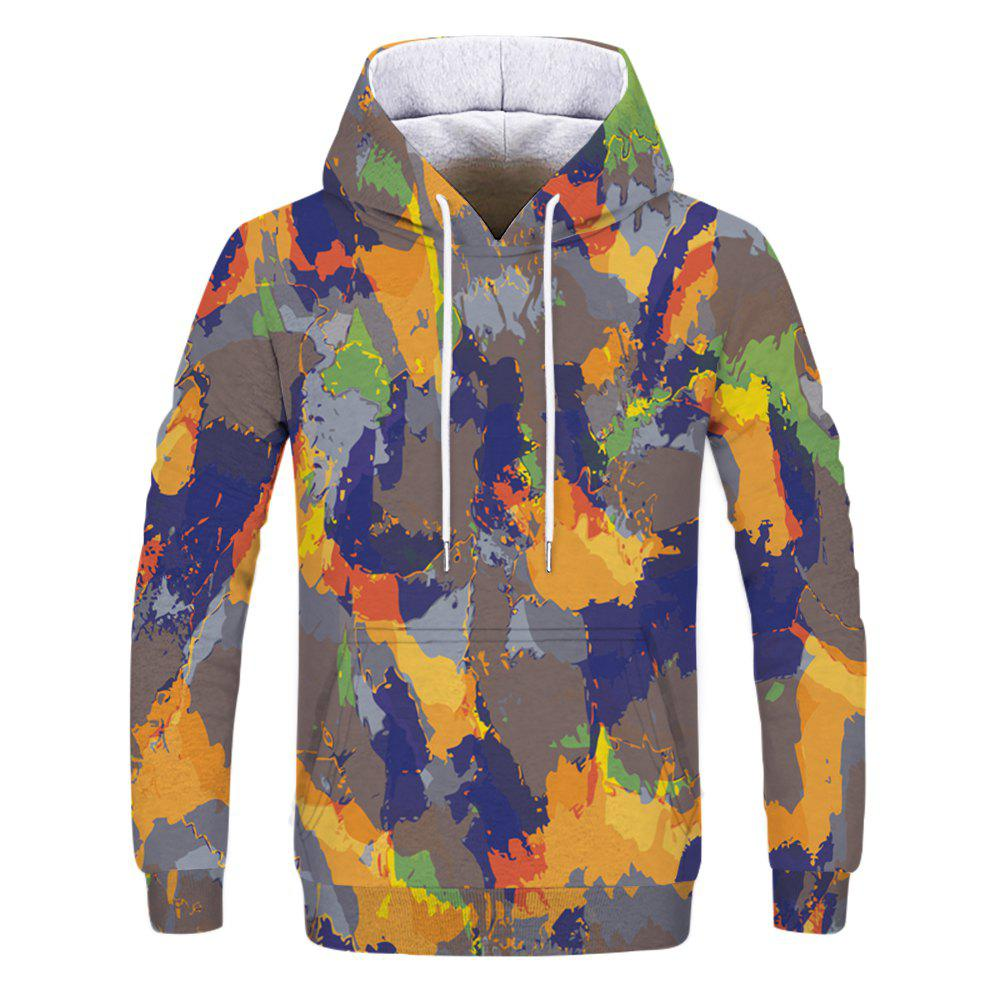 Fashion Men's Camouflage Yellow Blue Hoodie - multicolor L
