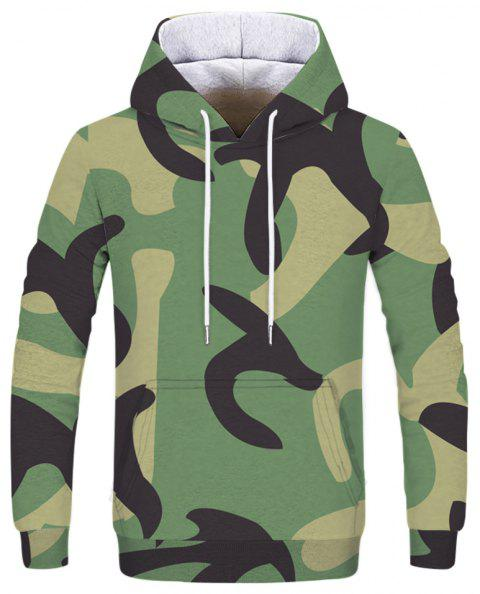 Fashion Men's Camouflage Army Green Hoodie - multicolor XL
