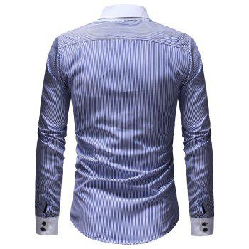 Men's Casual Slim Striped Shirt - multicolor B 2XL