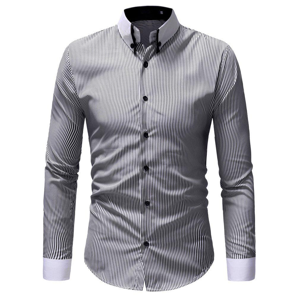 Men's Casual Slim Striped Shirt - multicolor A L