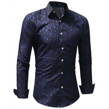 Fashion Geometric Print Men's Shirt - ROYAL BLUE 3XL