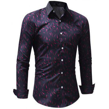 Fashion Geometric Print Men's Shirt - ROSE RED XL