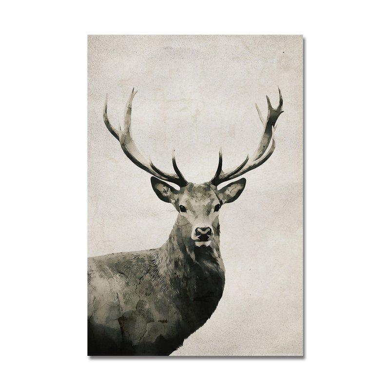 Animal de bande dessinée mignon cerf sauvage Art Print - multicolor
