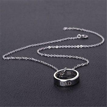 Fashion Charm Stainless Steel Carved Letters Ring Pendant Necklace - SILVER US SIZE 10