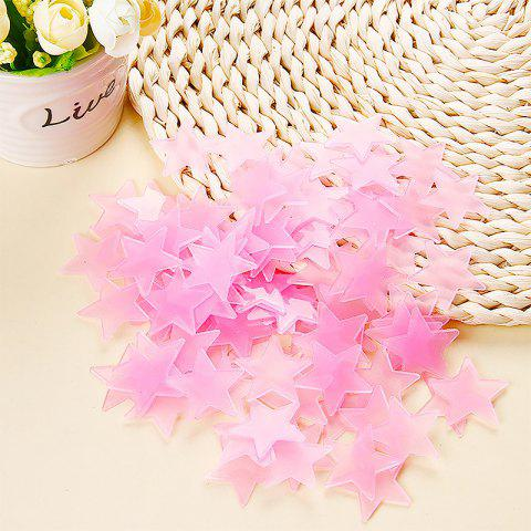100pcs Fluorescent  Wall Stickers  Stars Decal Glow In The Dark Bedroom Home - PINK