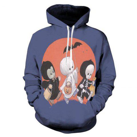 Men's 3D Print Pumpkin Imp Ghost Halloween Hoodie - BLUE LOTUS XL