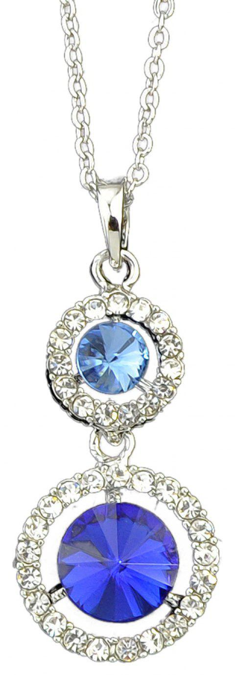 Metal Chain with Circular Gemstone Geometry Pendant Necklace - multicolor A