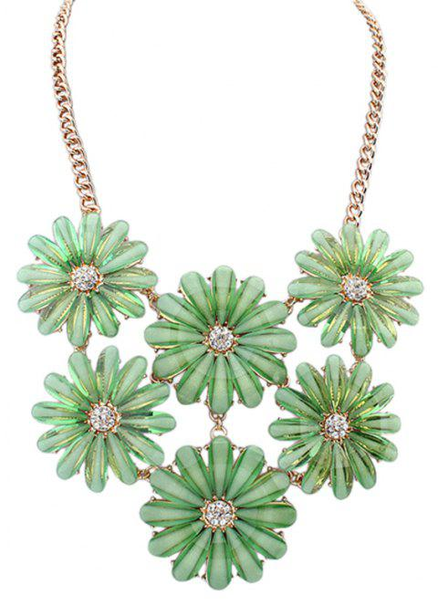 Graceful Rhinestone Resin Flower Pendant Necklace for Women - multicolor B