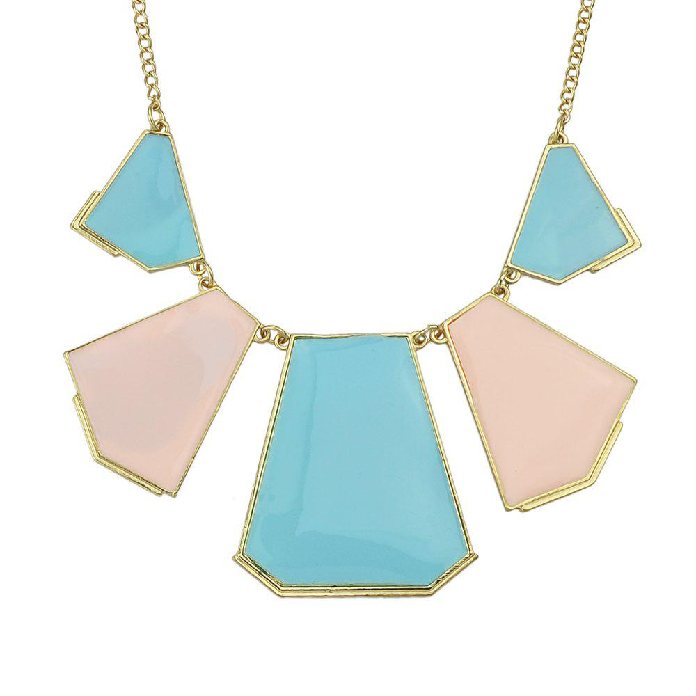 Metal Chain Colorful Enamel Geometry Pendant Necklace - multicolor B