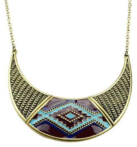 Fashion Colorful Enamel Decorative Pattern Necklace with Metal Chain - multicolor A