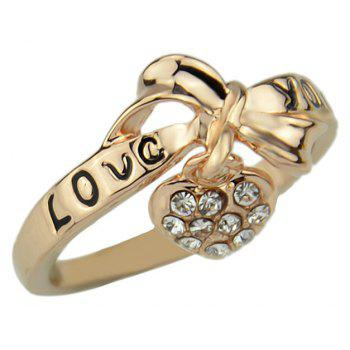 Lovely Metal Heart Bowknot Finger Ring with Rhinestone - GOLD US SIZE 7