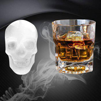 3D Skull Ice Mold Silicone Mould Cocktails Whisky Maker Halloween Party - BLACK
