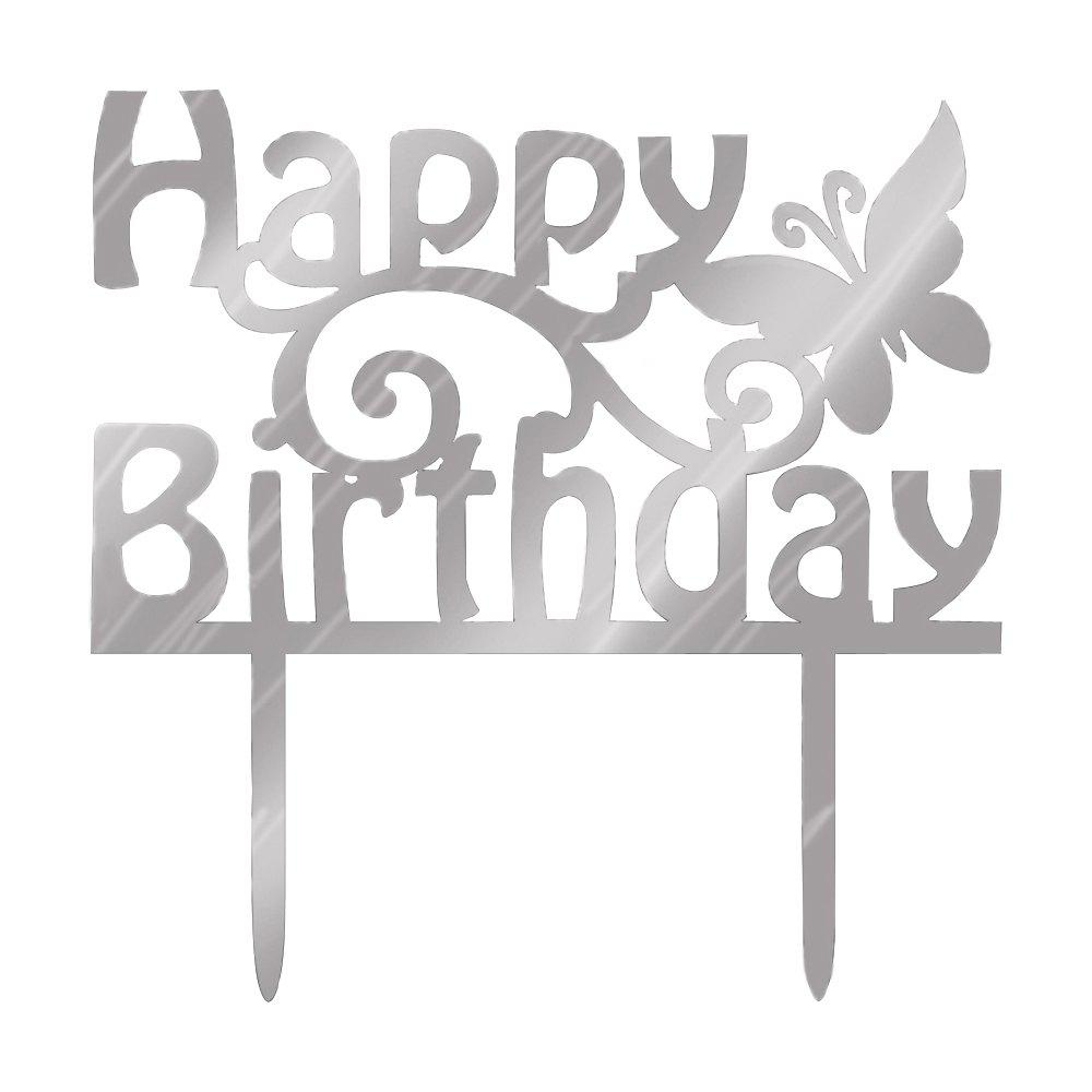 New Happy Birthday Letter And Butterfly Cake Insert Row - SILVER