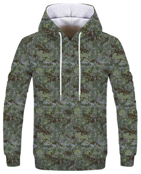 Fashion New Men's Mini Color 3D Printing Patch Pocket Hooded Sweatshirt - WOODLAND CAMOUFLAGE XL