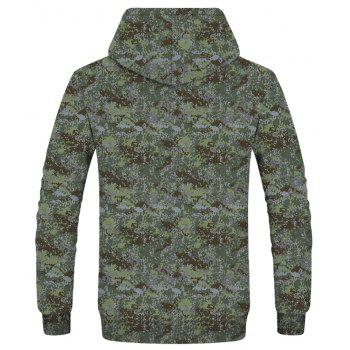 Fashion New Men's Mini Color 3D Printing Patch Pocket Hooded Sweatshirt - WOODLAND CAMOUFLAGE L