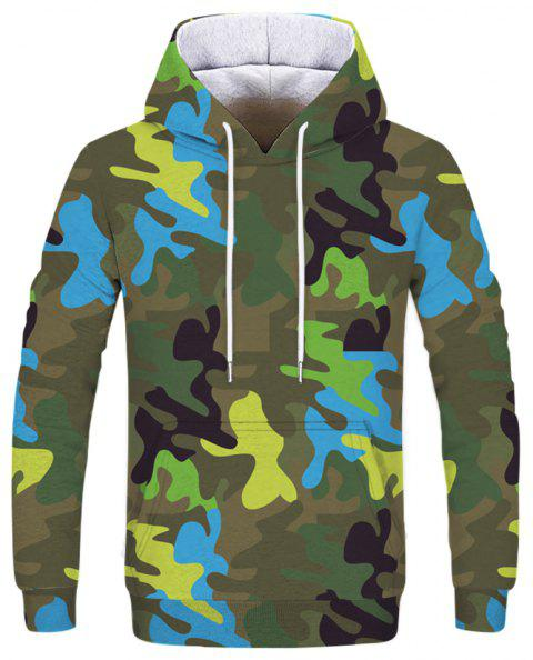 Men's New Camouflage 3D Print Long Sleeve Patch Pocket Hoodie - THREE SAND CAMOUFLAGE L