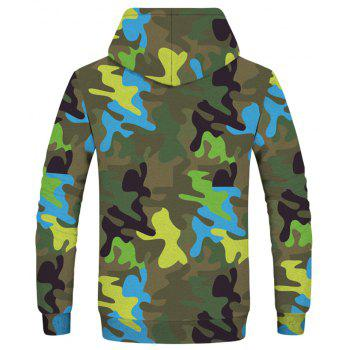 Men's New Camouflage 3D Print Long Sleeve Patch Pocket Hoodie - THREE SAND CAMOUFLAGE 2XL