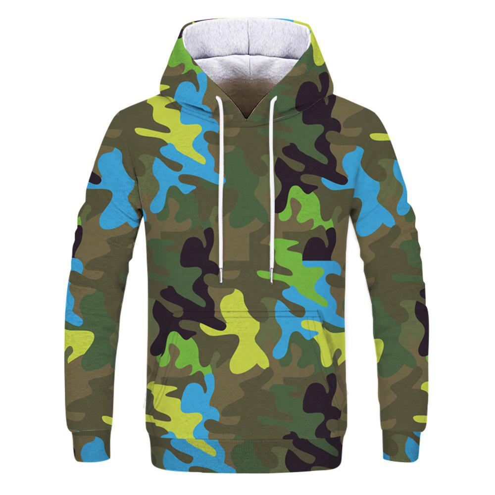 Men's New Camouflage 3D Print Long Sleeve Patch Pocket Hoodie - THREE SAND CAMOUFLAGE XL