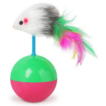 Mouse Tumbler Cat Dog Toy Ball Pet Real Rabbit Hair - multicolor