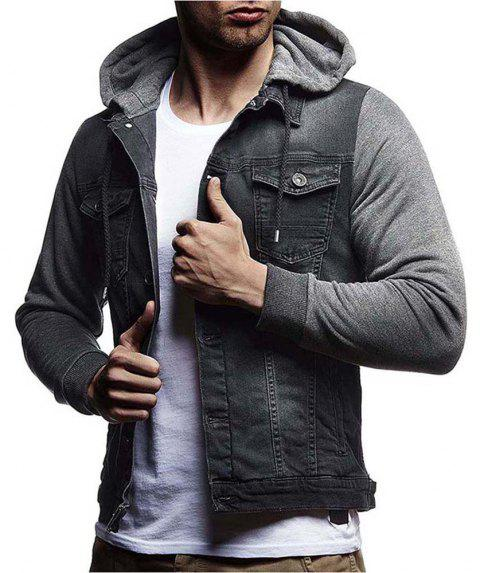 Men's Denim Jacket Hooded Long Sleeve Hoodie - GRAY 2XL