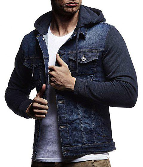 Men's Denim Jacket Hooded Long Sleeve Hoodie - BLUE M