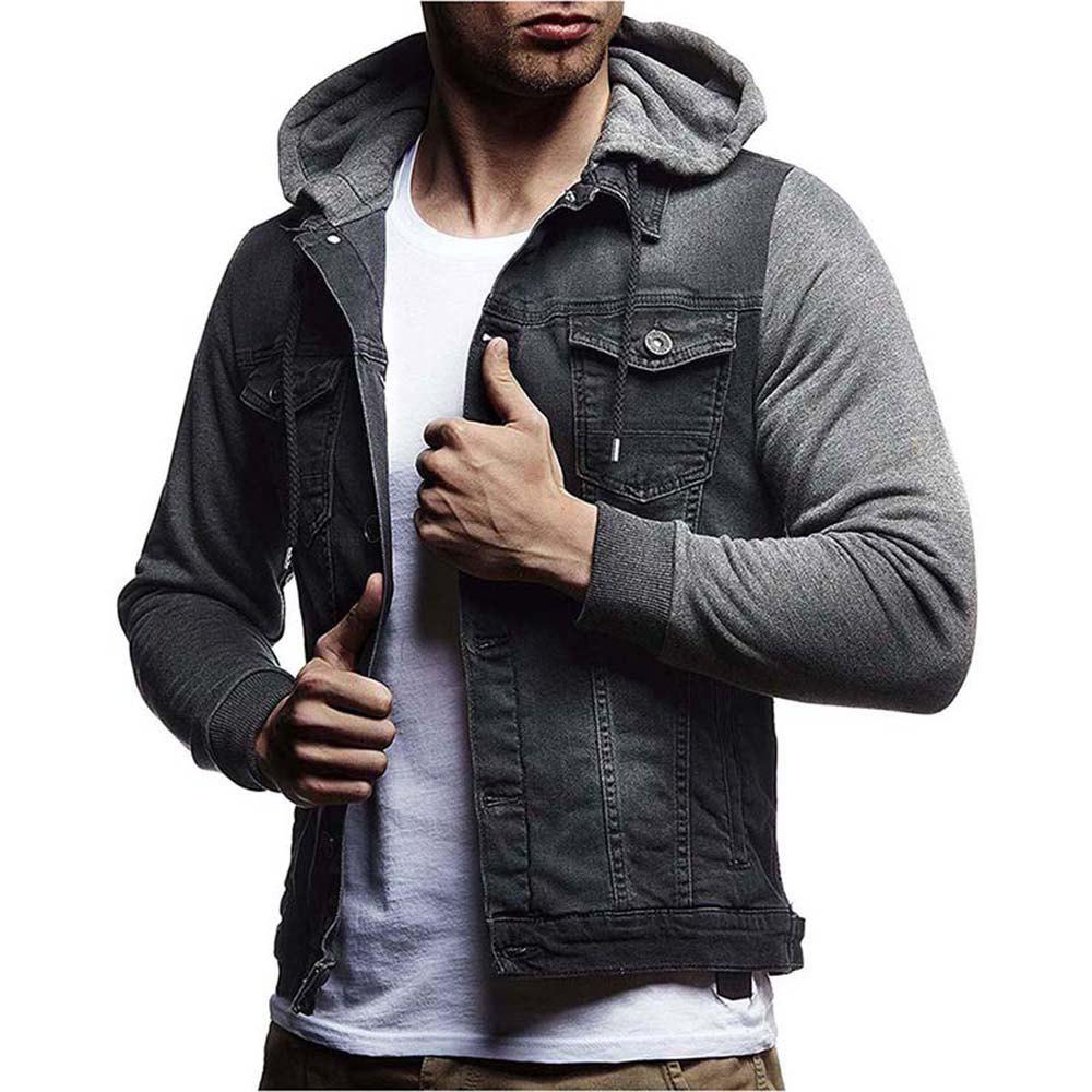 Men's Denim Jacket Hooded Long Sleeve Hoodie - GRAY 3XL