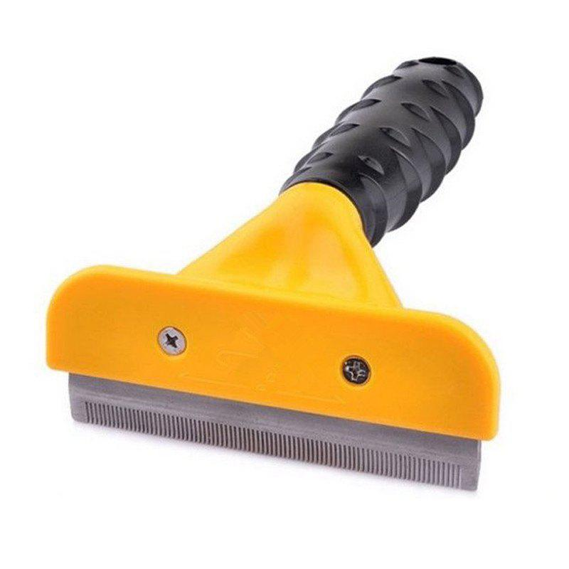 Deshedding Tool Pet Hair Removal Comb for Dog Cat - YELLOW LARGE